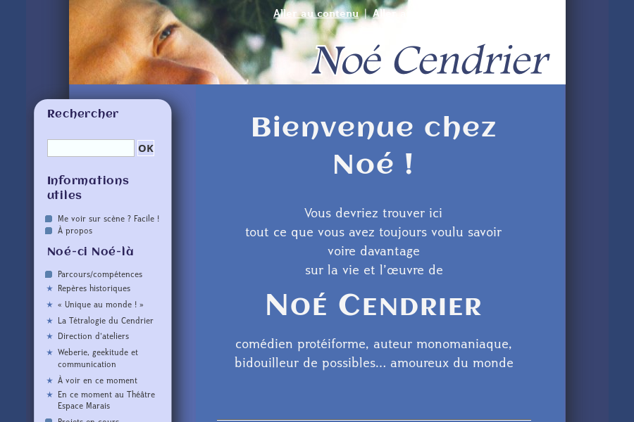 Capture de noecendrier.fr, theme de 2009