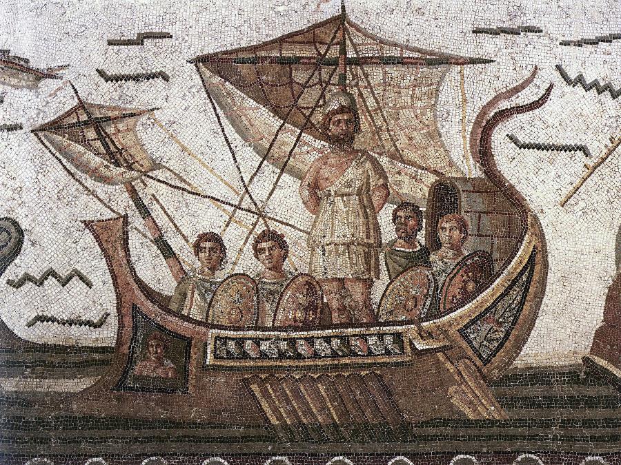 Mosaïque représentant Ulysse ligoté au mât de son bateau (épisode des sirènes)